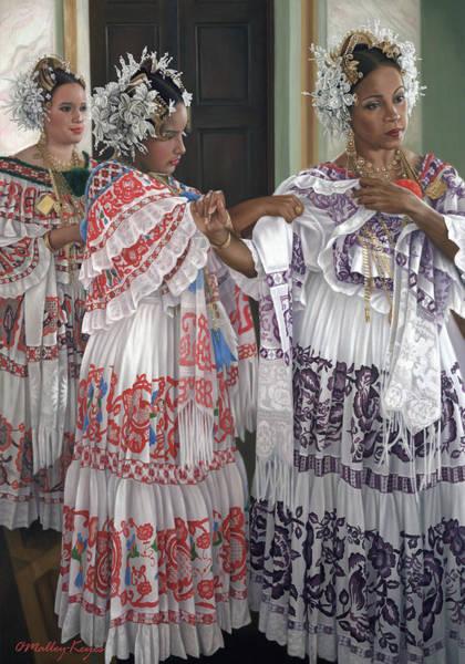 Central America Painting - Hermandad De Pollera De Panama by Julia O'Malley-Keyes