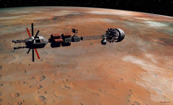 Digital Art - Hermes1 Orbiting Mars by David Robinson
