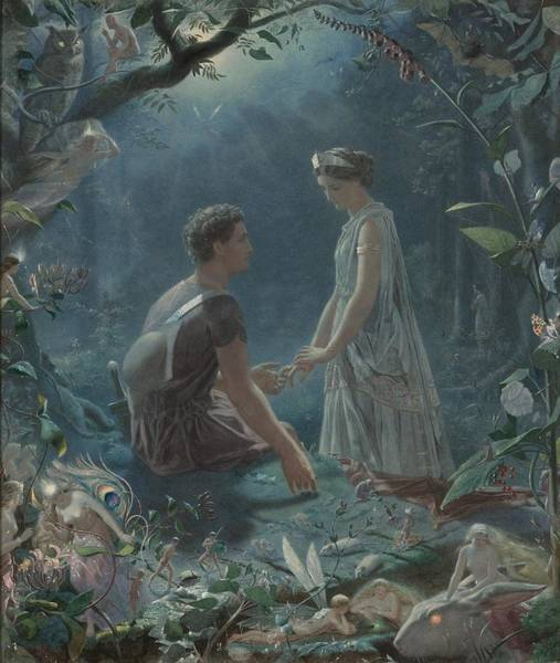 Painting - Hermia And Lysander From A Midsummer Night's Dream by Celestial Images