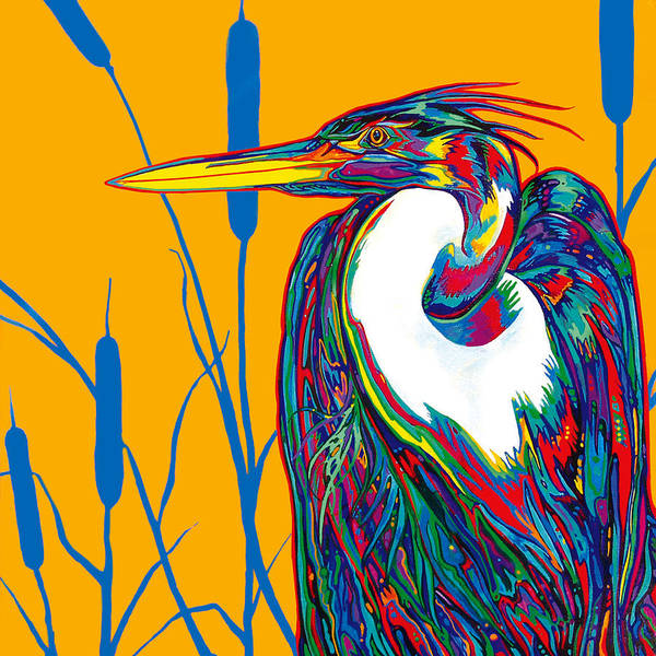 Wading Birds Wall Art - Painting - Heron by Derrick Higgins