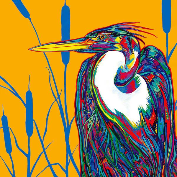 Marsh Bird Painting - Heron by Derrick Higgins