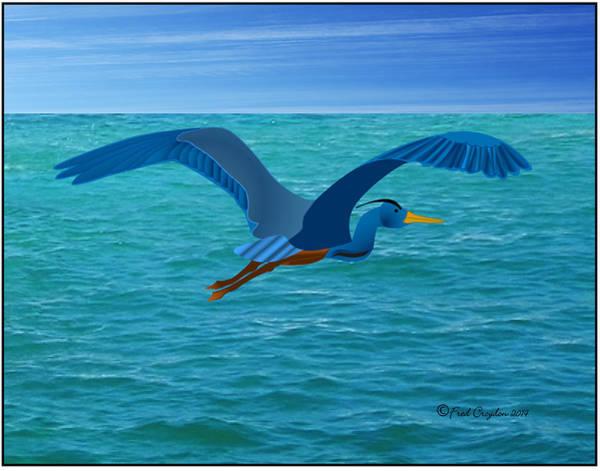 Great Blue Heron Drawing - Heron Flying Over Ocean by Fred Croydon