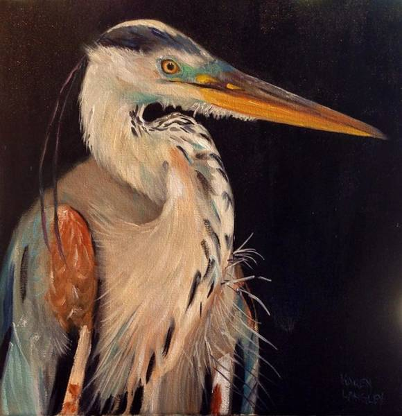 Wall Art - Painting - Heron Gazing by Karen Langley