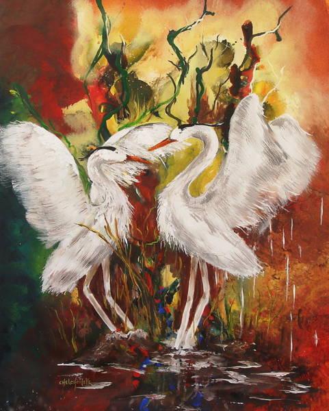 Heron Meeting Art Print