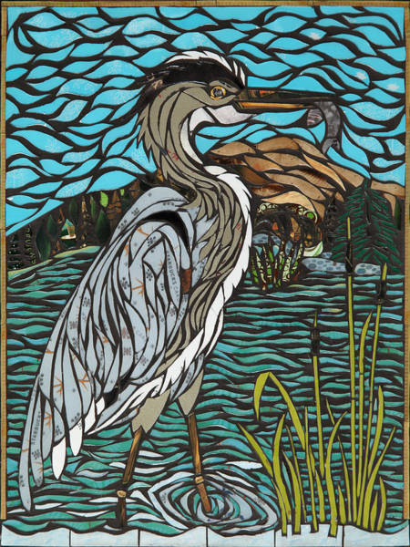 Heron Mixed Media - Heron On Connor Creek by Mary Ellen Bowers