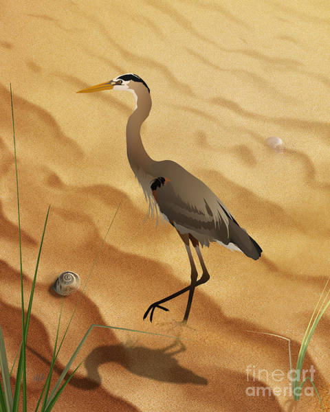 Shore Bird Digital Art - Heron On Golden Sands by Peter Awax
