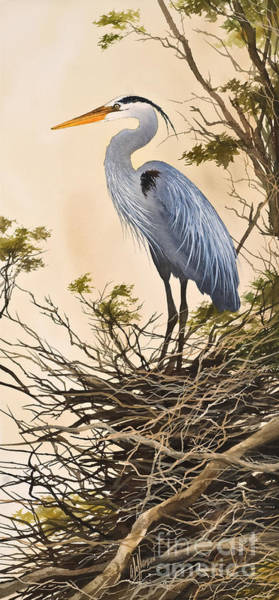 Great Blue Heron Wall Art - Painting - Herons Secluded Home by James Williamson