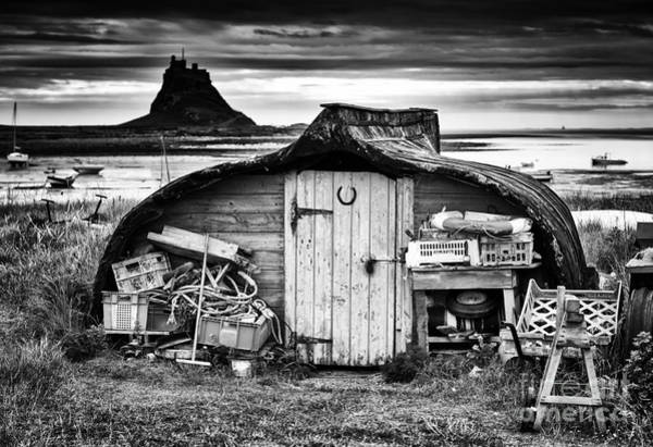 Photograph - Herring Boat Hut Lindisfarne Monochrome by Tim Gainey