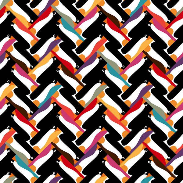 Wall Art - Drawing - Herringbone Penguin by MGL Meiklejohn Graphics Licensing
