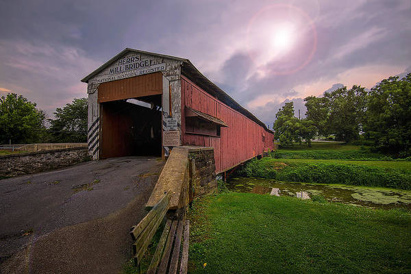 Wall Art - Photograph - Herr's Covered Bridge. by Dave Sandt