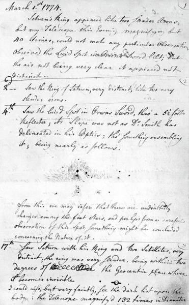 Handwriting Photograph - Herschel's First Observations by Royal Astronomical Society/science Photo Library