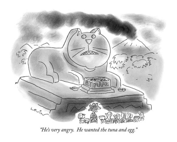Cats Drawing - He's Very Angry.  He Wanted The Tuna And Egg by Arnie Levin