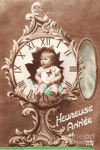 Restored Wall Art - Photograph - Heureuse Annee Vintage Baby by Delphimages Photo Creations
