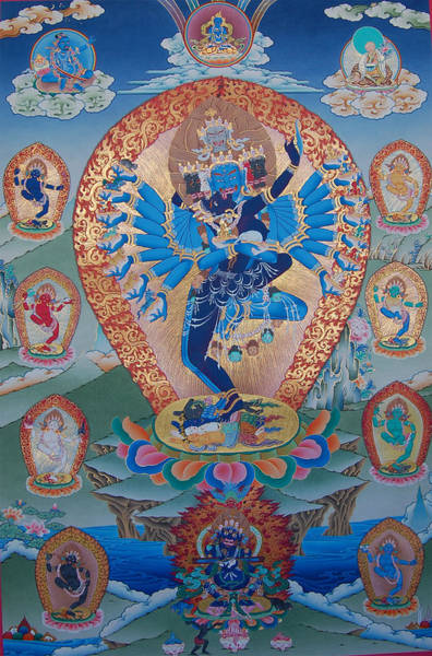 Thangka Painting - Hevajra With 8 Dakinis by Images of Enlightenment
