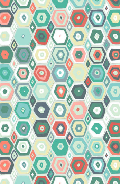 Wall Art - Drawing - Hex Diamond Coral Mint by MGL Meiklejohn Graphics Licensing