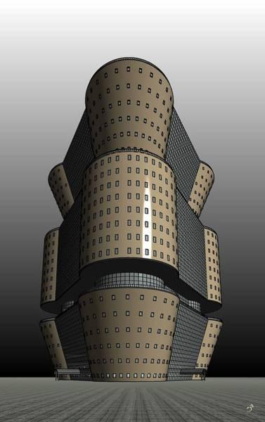 Highrise Digital Art - Triagonal Building 2 by Ron Bissett
