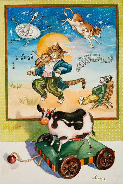 Note Book Painting - Hey Diddle Diddle by Judy Koenig