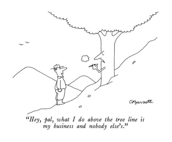 Nobody Drawing - Hey Pal, What I Do Above The Tree Line by Charles Barsotti