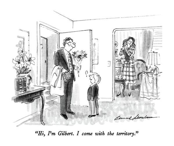 July 13th Drawing - Hi, I'm Gilbert.  I Come With The Territory by Bernard Schoenbaum