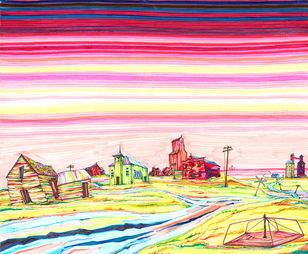 Drawing - Hi-line Ghost Town by Scott Kirby