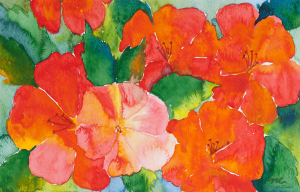 Hibiscus Flower Painting - Hibiscus Flowers by Michelle Constantine