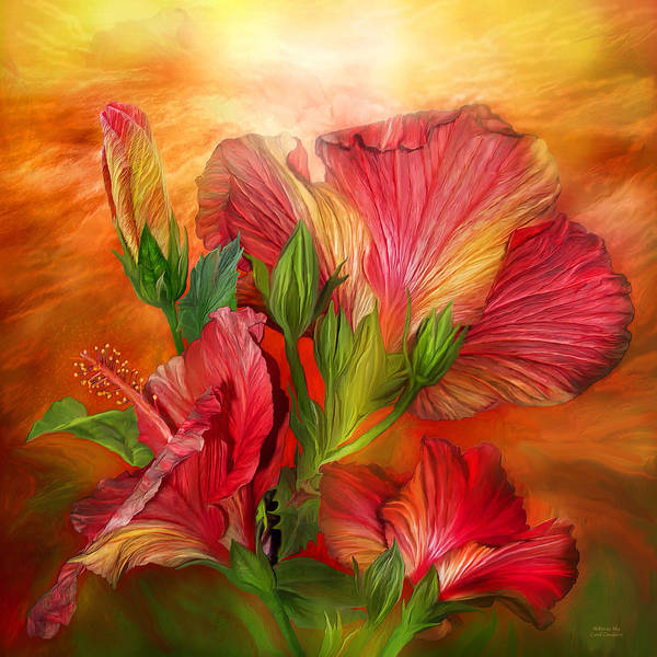 Mixed Media - Hibiscus Sky - Red And Gold Tones by Carol Cavalaris