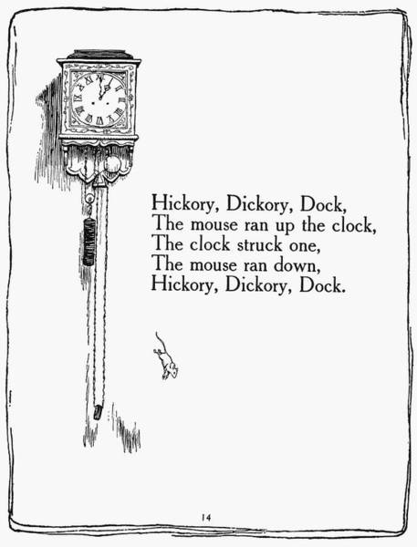 Mother Goose Drawing - Hickory, Dickory, Dock by Granger
