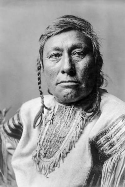Indigenous Photograph - Hidatsa Indian Man Circa 1908 by Aged Pixel