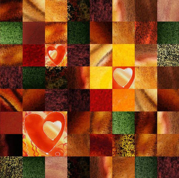 Painting - Hidden Hearts Squared Abstract Design by Irina Sztukowski