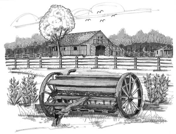 Drawing - Hidden Hollow Farm 2 by Richard Wambach