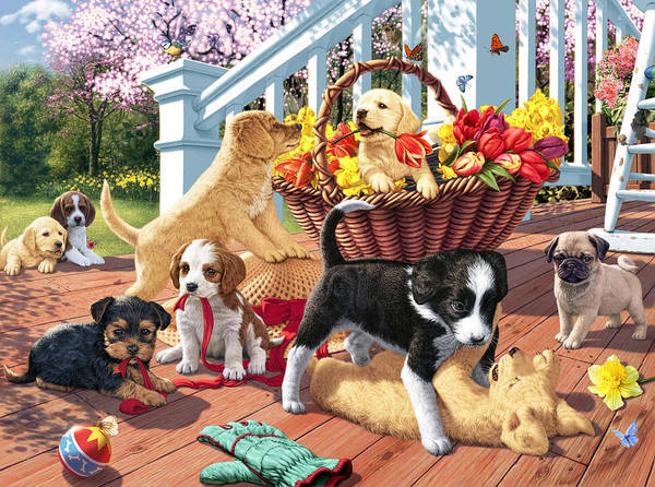 Digital Illustration Photograph - Hidden Images - Puppy Mischief by MGL Meiklejohn Graphics Licensing