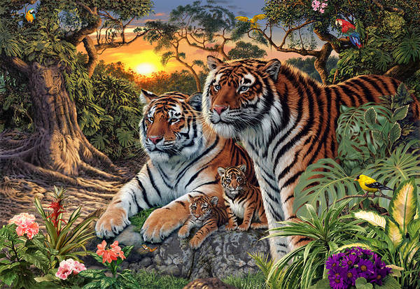 Exotic Bird Photograph - Hidden Images - Tigers by MGL Meiklejohn Graphics Licensing