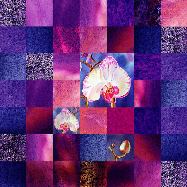 Painting - Hidden Orchids Squared Abstract Design by Irina Sztukowski