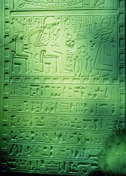 Hieroglyph Photograph - Hieroglyphic Writing On A Section Of Wall by Ton Kinsbergen/science Photo Library