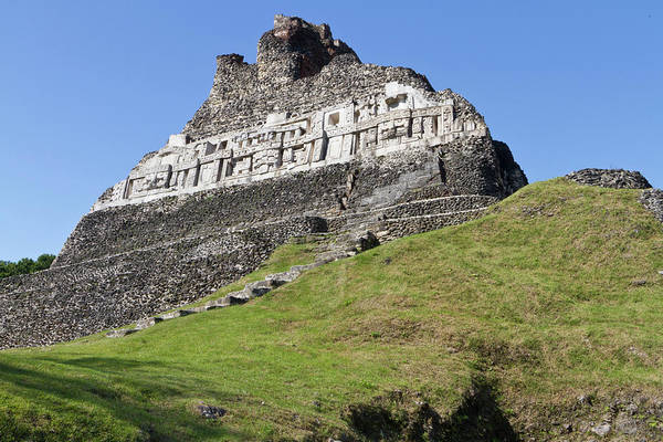 Belize Photograph - Hieroglyphs On A Wall Facade Of El by William Sutton