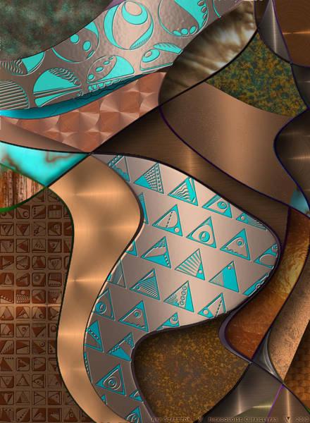 Digital Art - Hieroquoise Cupriglyphs by Ann Stretton