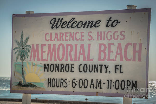 Clarence Photograph - Higgs Beach Sign Closeup - Key West - Hdr Style by Ian Monk