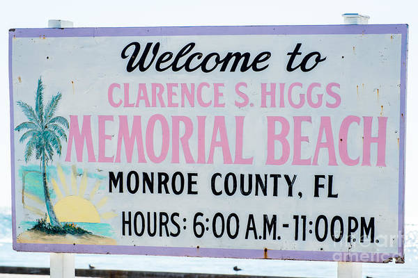 Clarence Photograph - Higgs Beach Sign Closeup - Key West by Ian Monk