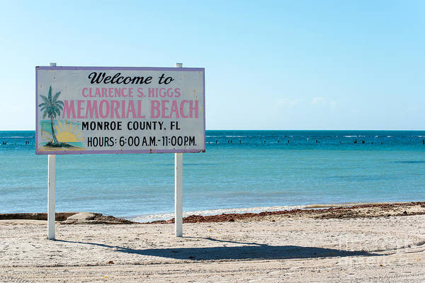 Clarence Photograph - Higgs Beach Sign - Key West  by Ian Monk