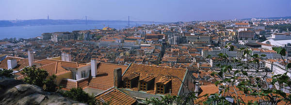 Lisbon Castle Photograph - High Angle View Of A City Viewed by Panoramic Images