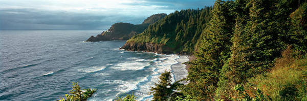 Heceta Head Lighthouse Photograph - High Angle View Of A Coastline, Heceta by Panoramic Images