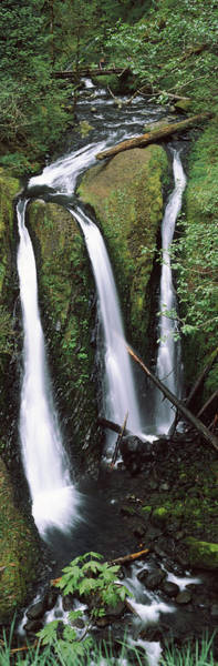 Triple Falls Photograph - High Angle View Of A Waterfall by Panoramic Images