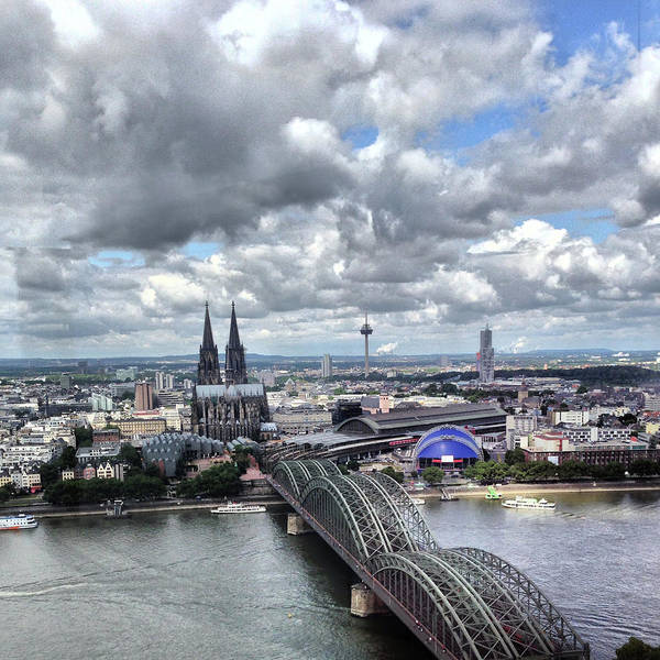 Rhine River Photograph - High Angle View Of Cologne Cathedral by Yulia Reznikov