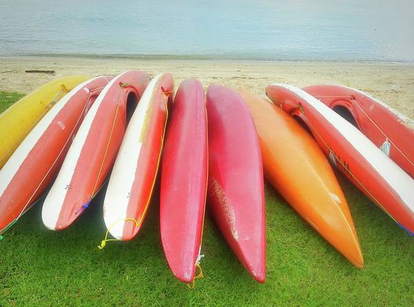 Side-by-side Photograph - High Angle View Of Colorful Canoes At by Tim Seet / Eyeem