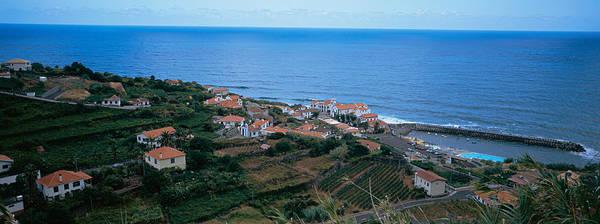 Azores Photograph - High Angle View Of Houses At A Coast by Panoramic Images