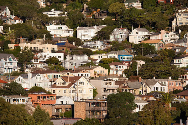 Sausalito Wall Art - Photograph - High Angle View Of Houses In A Town by Panoramic Images