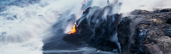 Fire Place Photograph - High Angle View Of Lava Flowing by Panoramic Images