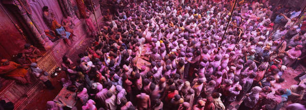 Holi Photograph - High Angle View Of People Celebrating by Panoramic Images