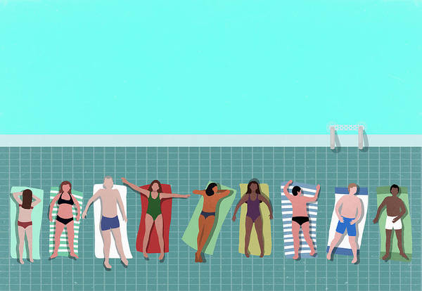 Digital Art - High Angle View Of People Relaxing At by Malte Mueller