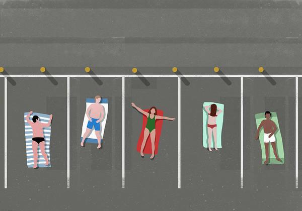 Digital Art - High Angle View Of People Sunbathing In by Malte Mueller